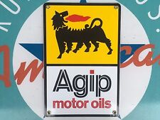 AGIP MOTOR OILS top quality porcelain coated 18 GAUGE steel SIGN
