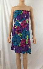 Betsey Johnson Size 8 Silk Blend Mini Dress Strapless Bandeau Summer Dress