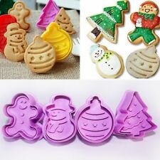 4pcs Christmas Cookies Plunger Cutter Fondant Cake Decor Biscuit Baking Mold DIY