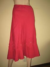 Per Una ~ Deep Pink Swirly Linen Skirt with Appique Floral Design ~ Size 12