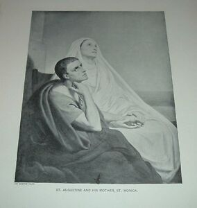 c1900 Antique Print ST AUGUSTINE AND HIS MOTHER SAINT MONICA Ary Scheffer