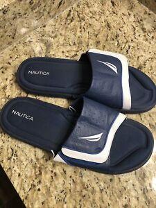 Nautica Mens Flip Flops Sandals Size 12 Navy Blue
