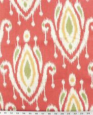 Drapery Upholstery Fabric Southwestern Ikat Surat 100% Cotton - Coral