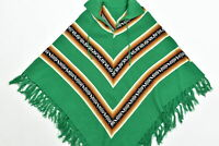 Women's Unbranded One Size Poncho Sweater  Green Long Sleeve Geometric Cotton