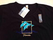 Nwt Black Florida T Shirt Embroidered Aqua Dolphin Womens Small Preshrunk Cotton