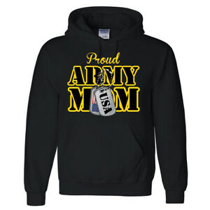 🔥 Proud Army Mom Hoodie US Military Tags America Flag Gift for Mom Patriotic