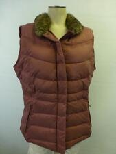 womens EDDIE BAUER mauve faux fur Goose Down Puffer Vest winter coat jacket sz L
