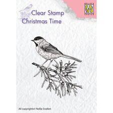 Nellie Snellen Navidad veces claro sello coníferas Rama Con Pájaro CT023