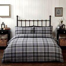 check tartan flannelette 100%25 brushed cotton quilt duvet cover bed set red blue