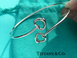 Tiffany & Co Sterling Silver Solid Open Hearts 2 Bracelet Elsa Peretti Bangle