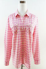 EXPRESS Long Sleeve Cotton Button Down Check Shirt w/ Patch Pockets Pink Size L