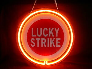 Lucky Strike Cafe Cigarette Pub Bar Display Advertising Neon Sign
