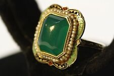 VICTORIAN 14K GOLD ORNATE FLORAL SEED PEARL ENAMEL - LARGE GREEN STONE RING