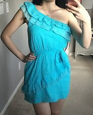 2b bebe Turquoise Blue One Shoulder Asymmetric Lace Tier Ruffle Flounce Dress S