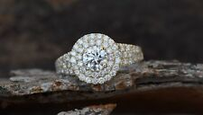 Engagement Ring Silver 14k White Gold Fn 0.75ct Moissanite & Sim Dia Double Halo
