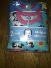NWT 2 TODDLER GIRLS GERBER FLEECE BLANKET SLEEPERS PINK WITH PANDA BEARS 3T