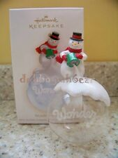 Hallmark 2009 Wonder of Snow Glass Snowman Christmas Ornament