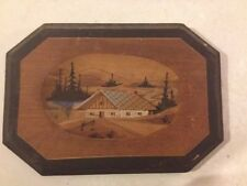 Vintage Folk Art Country Primitive Wood Cut Out Frame Picture Cabin House Camp