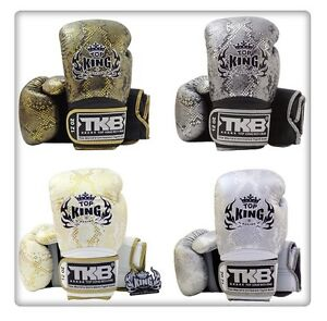 NWT Top King Muay Thai Boxing Gloves TKBGSS Super Snake Black Gold White Silver