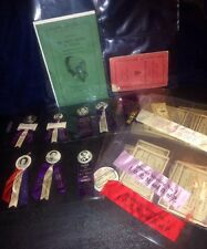 RARE Degree Of Pocahontas D.of P. Improved Order Of Redmen Celluloid Pins Ribbon