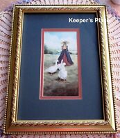 Glynda Turley VICTORIAN LADY AND GEESE Signed Print Framed Matted Gold Frame