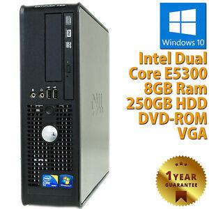 PC COMPUTER DESKTOP RICONDIZIONATO DELL 380 SFF CPU DUAL CORE RAM 8GB HDD 250GB