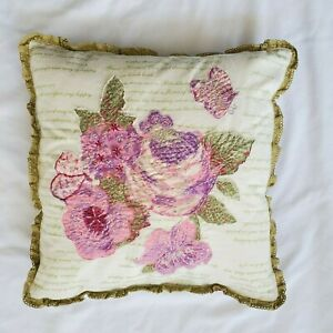 Vintage April Cornell Pink Roses Sage Green Floral Butterfly16x16 Cushion
