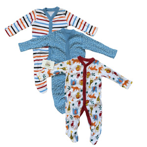 Baby Boys Sleepsuits Babygrows Multipack Ex Nutmeg All In One Animals Striped