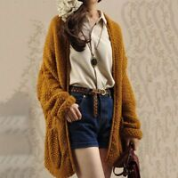 Womens casual Lolita Long Sleeve Cable Knit Chunky knit Soft Cardigan Sweater