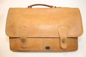 Coach USA Made 80's Vintage 007-6045 Leather Briefcase Attache Business Bag