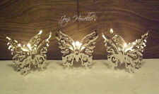 Set Of 3 BUTTERFLY Tea Light Candle Holders Silver Metal Home Decoration Gift