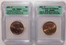 2 Coin Set 2007P Thomas Jefferson Presidential Dollar ICG Pos B Obverse & Ltr Up