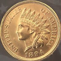 1894 Indian Head Penny 4 SHARP DIAMONDS **LOW MINTAGE ***KEY DATE***Cleaned