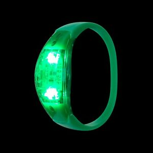 2 Green LED Sound Activated Bracelets Light Up Flashing Voice Control Band Music