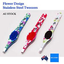 Stainless Steel Flower Design Tweezers Eyebrow Puller Beauty Nail Tip Slanted