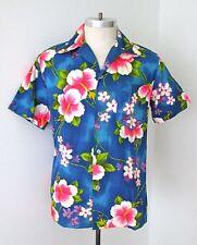 VGC Vtg 60s Mod Neon Pink Blue Cotton Barkcloth Button Loop Hawaiian Shirt M