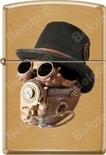 Zippo Industrial Machinery, Hat Goggle Mask, Steam Punk, Brushed Brass Lighter