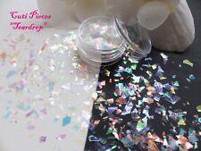 Nail Art Translucent *TearDrop* Myler Flakes Cut Shatter Pot Spangles Glitters