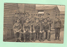 PC WW1 British Military RFA Soldiers  Two Wound Stripes Outside Barracks At Camp