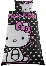 Hello Kitty Hearts Black Single Panel Duvet Cover Bed Set
