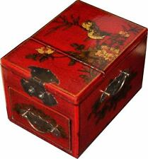 Red Jewellery Box with Stand up  Mirror - Traditional Chinese (MB-S1R-FL)