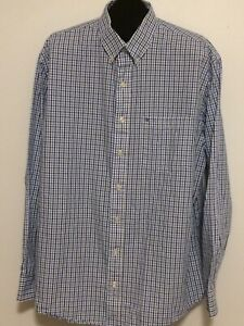 IZOD Men's XLT long sleeve button front shirt BLUE/WHITE PLAID AND CHECK