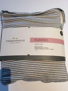 Cozy Twin Size Gray Ticking Stripe Target Threshold Printed Flannel Sheet Set