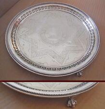 Mid-Vittoriano SHEFFIELD argento placcato dai piedi artiglio Vassoio-JAMES DIXON