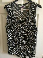 Womens Black White Sleeveless Top Plus size 20-22w