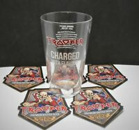 IRON MAIDEN TROOPER PINT GLASS - NEW AND UNUSED  PLUS 5 X BEERMATS