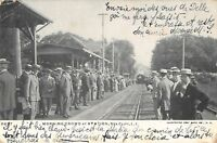 CPA USA ETATS UNIS AMERIQUE MORNING CROWD AT STATION SEACLIFF (TRAIN GARE