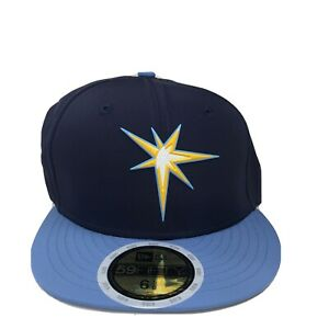 New Era Cap 59Fifty Tampa Bay Rays Navy Blue Fitted MLB18 Kids Size 6 5/8