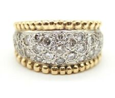 Right Hand Ring.Wide Ring Size 6.75 14K Yellow Gold & White Gold Diamond