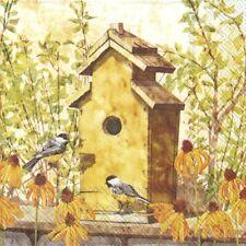 """4 Servietten """"BIRDHOUSE IN FALL"""" 33x33 Napkins Vogelhaus Blumen Tiere Vögel"""